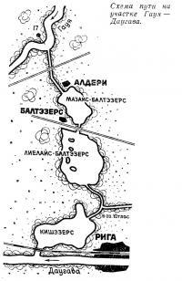 Схема пути на участке Гауя—Даугава