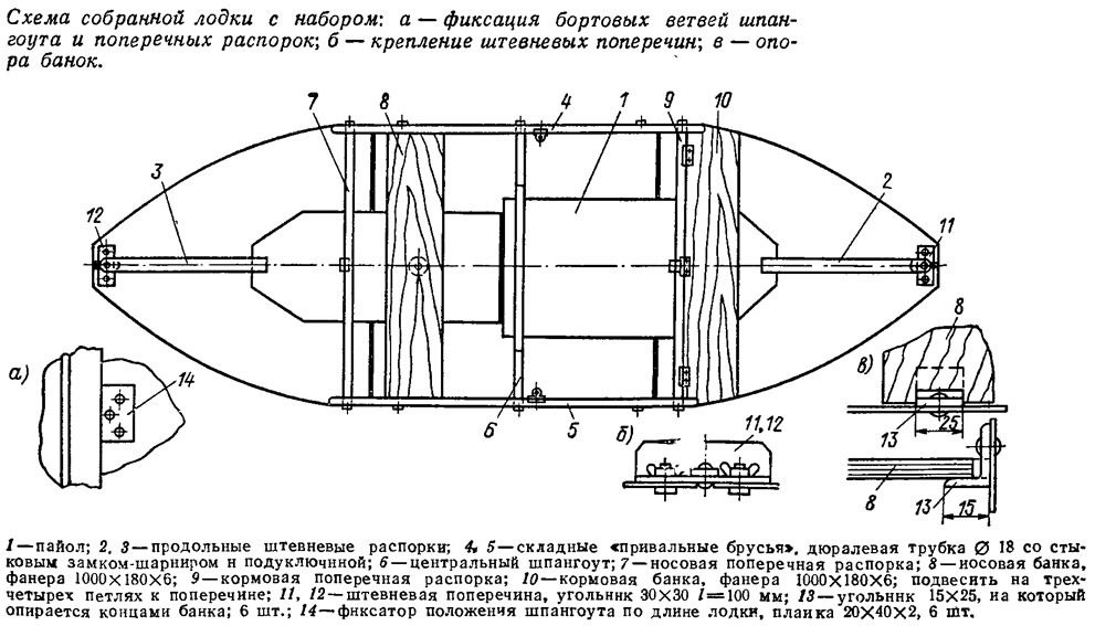 чертеж весельной лодки