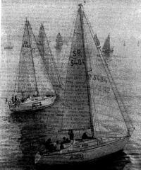 Старт полутонников в Рйжском заливе