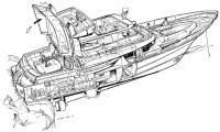 Теоретический чертеж мотopно-парусного катамарана «Круиз»