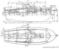 Теоретический чертеж рубки катера