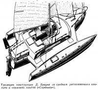 Тримаран конструкции Д. Брауна со средним расположением кокпита и кормовой каютой