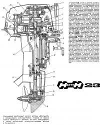 Упрощенный продольный разрез мотора «Нептун-23»