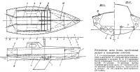 Устройство яхты (план, продольный разрез и поперечные сечения)
