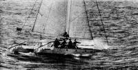 В открытом море — рижский катамаран «Каупо»