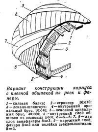Вариант конструкции корпуса с клееной обшивкой из реек и фанеры