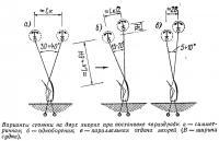 Варианты стоянки на двух якорях при постановке «враздрай»