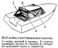 Вид лодки с поставленным тентом