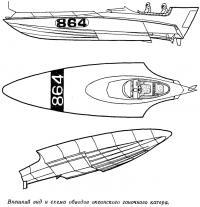 Внешний вид и схема обводов океанского гоночного катера