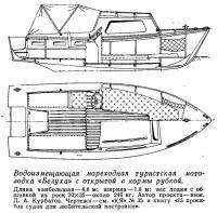 Водоизмещающая мореходная мотолодка «Белуха» с открытой с кормы рубкой