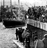 Встреча победителя гонок — яхты «Флайер» в Портсмутском доке