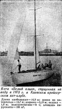 Яхта «Белый клык» спущенная на воду в 1973 г. в Киевском яхт-клубе