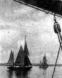 Яхта «Стахановец» во время плавания отряда крейсеров на Онежском озере. Фото 1939 г.