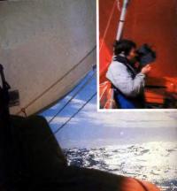 Автопортрет с кинокамерой (вверху) и океанский пейзаж