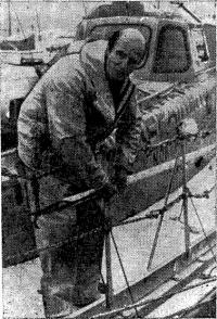 Дэвид Скотт-Каупер на борту «Мейбл оф Холланд» по возвращении из кругосветного путешествия