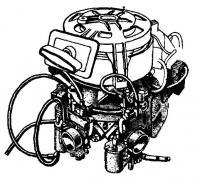 Двигатель с установленными на нем двумя карбюраторами