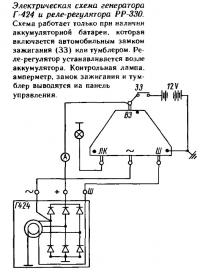 Электрическая схема генератора Г-424 и реле-регулятора РР-330