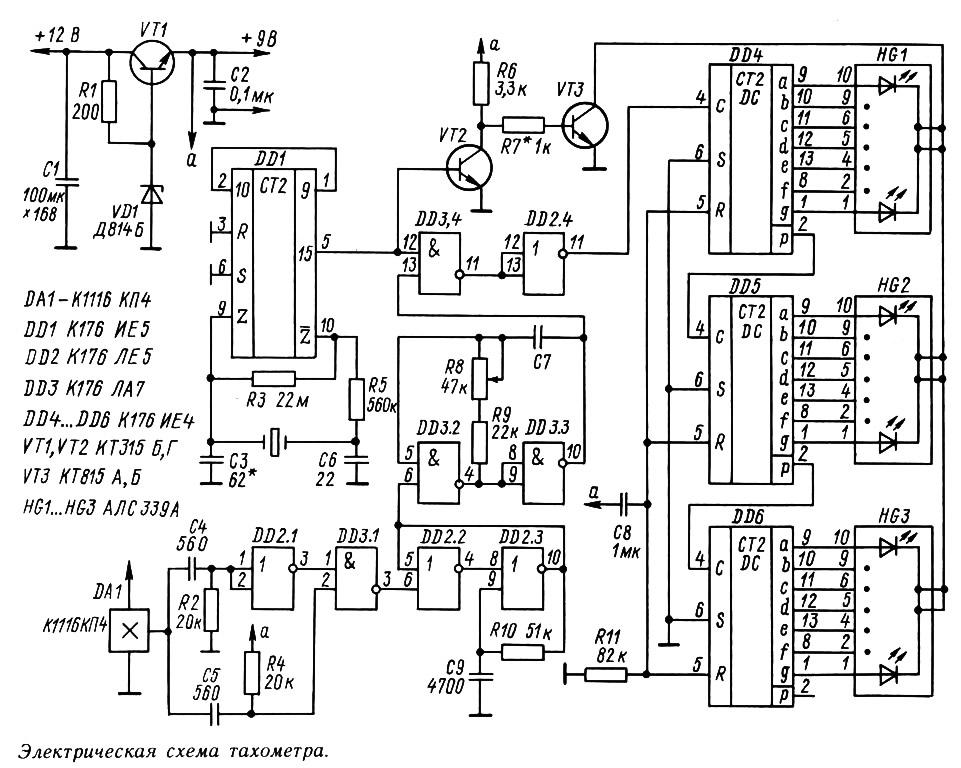 тахометра pic на цифрового схема