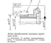 Эскиз доработанной шестерни переднего хода
