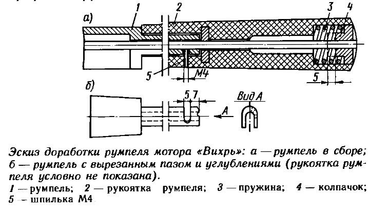 Эскиз доработки румпеля мотора «Вихрь»