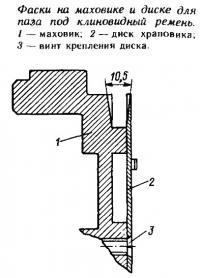 Фаски на маховике и диске для паза под клиновидный ремень