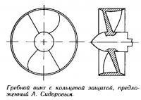 Гребной винт с кольцевой защитой, предложенный А. Сидоровым