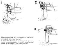 Использование устройства для подъема человека на борт яхты
