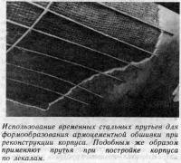 Использование временных стальных прутьев для формообразования обшивки