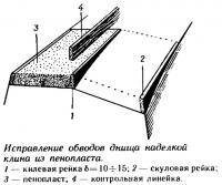 Исправление обводов днища наделкой клина из пенопласта