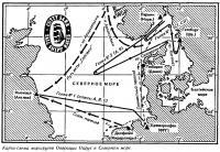 Карта-схема маршрутов Операции Парус в Северном море