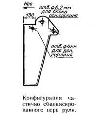 Конфигурация частично сбалансированного пера руля