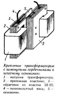 Крепление трансформаторов с замкнутыми сердечниками к штатному основанию