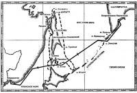 Маршрут плавания вокруг Сахалина (пунктирная линия)
