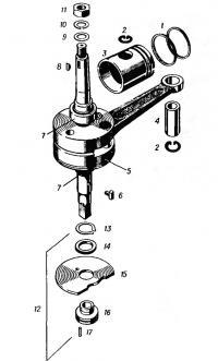 Механизм кривошипно-шатунный с поршнем, золотник