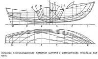 Морская водоизмещающая моторная шлюпка с упрощенными обводами корпуса