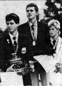 На пьедестале призеры регаты в классе «Аквата»: Е. Богатырев, М. Гебхардт, М. Рейцем
