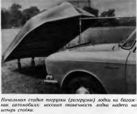 Начальная стадия погрузки лодки на багажник автомобиля