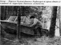 Нургали Муфахаров во время плавания по территории Пимского лесничества