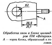 Обработка окон в блоке цилиндров ПМ «Ветерок»