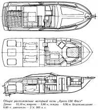 Общее расположение моторной яхты «Ареса-130 Фаст»