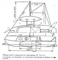 Общий вид и парусноссть тримарана Л. Гилева