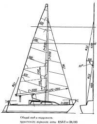 Общий вид и парусность туристского варианта яхты