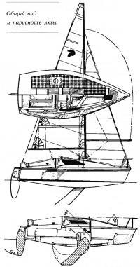 Общий вид и парусность яхты «Рикошет»
