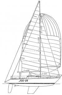 Общий вид и паруснссть яхты «ЛЭС-35»