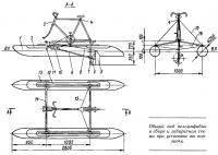 Общий вид велоамфибии в сборе и габаритная схема при установке на поплавки
