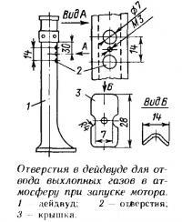 Отверстия в дейдвуде для отвода выхлопных газов в атмосферу при запуске мотора