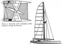 План и боковой вид (справа) катамарана «Эльф Акитен-2»