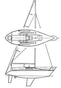 План верхней палубы и парусность полутонника «СТ-31»