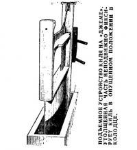 Подъемное устройство киля на «Джеме»