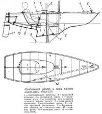 Продольный разрез и план палубы микро-яхты «Миг-3,5»